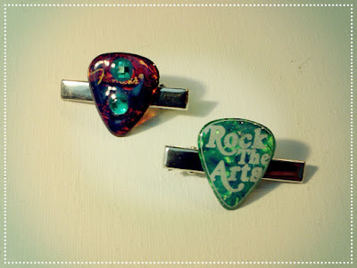 Repurposed Guitar Pick Tie Clips