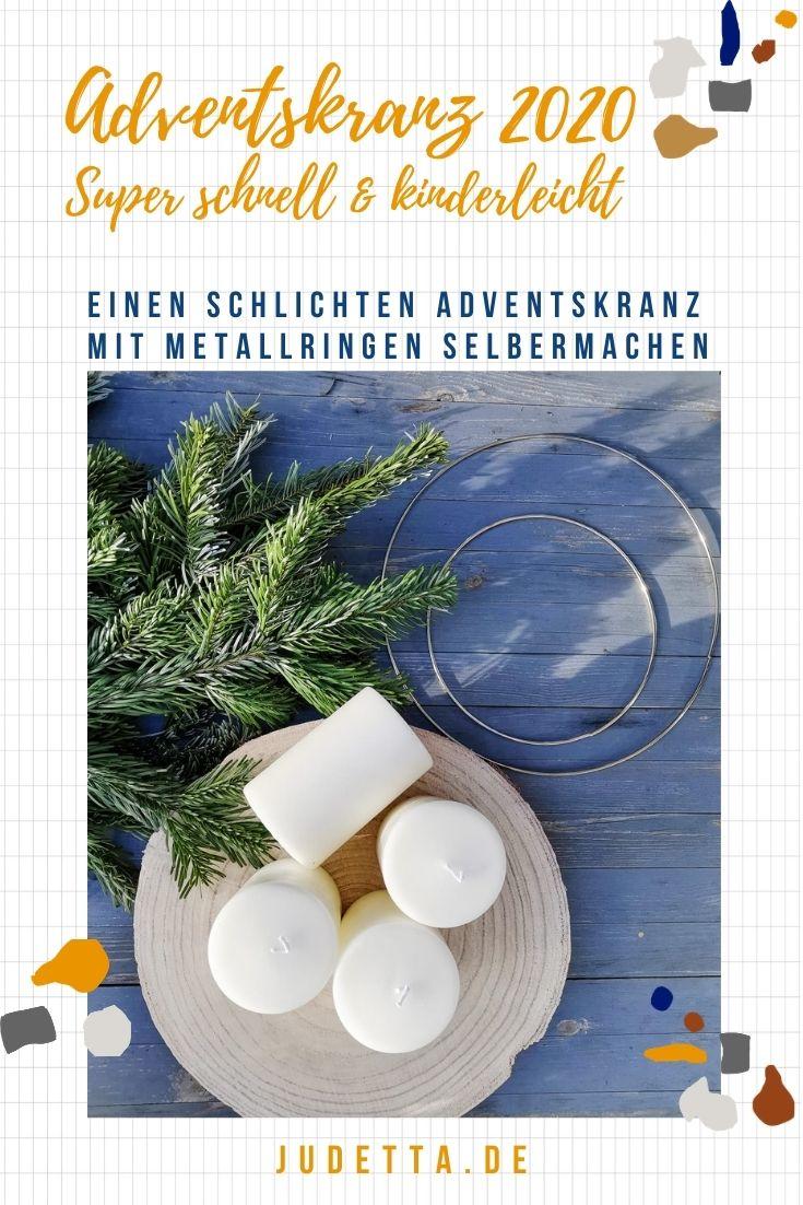 Einen wunderschönen schlichten und minimalistischen Adventskranz mit Tannenzweigen, Metallringen und einer Baumscheibe einfach selber machen // judetta.de