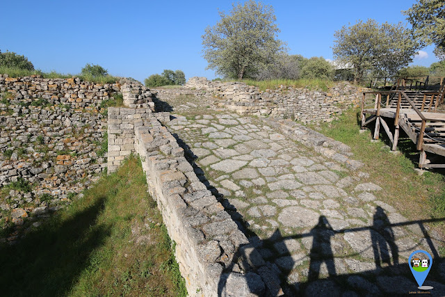 The ramp still remains intact at the ancient city near Troy wooden house in Canakkale, Turkey