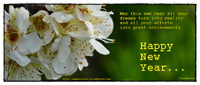 White Flower, New YEar Card, Happy New YEar, dreams, achievements, efforts,
