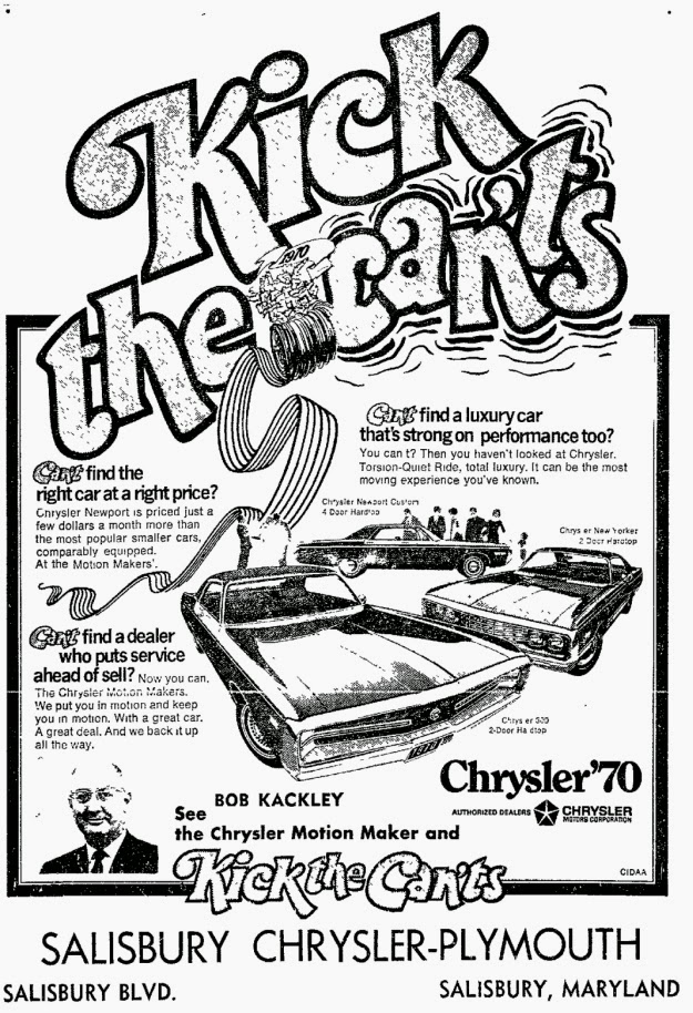 mopar ads oddities 2014 1970 Chrysler Imperial salisbury chrysler plymouth motion maker kick the can ts md 1970