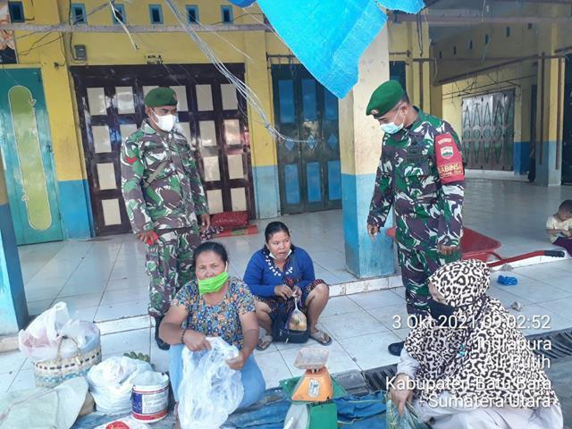 Agar Para Pengunjung Serta Pedagang Terhindar Dari Virus Corona, Personel Jajaran Kodim 0208/Asahan Laksanakan Gakplin