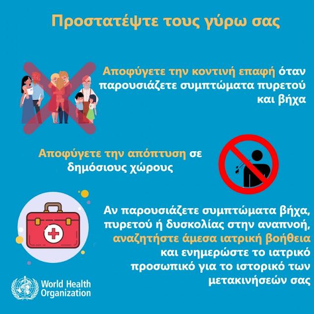 Οδηγίες προστασίας από αναπνευστική λοίμωξη από το νέο κοροναϊό