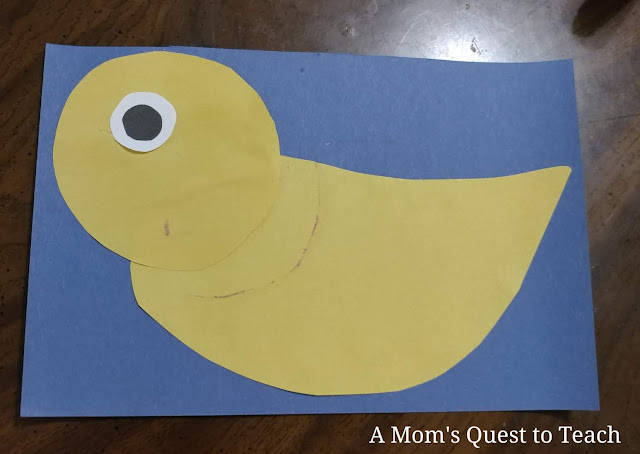 head and body and eyes of construction paper duck