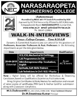 NEC Narasaraopeta Engineering College, Guntur, Assistant Professor /Lab Programmers/ Technicians Jobs Recruitment 2019 Walk-in Interview