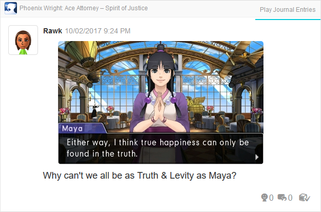 Phoenix Wright Ace Attorney Spirit of Justice Maya Fey true happiness truth levity