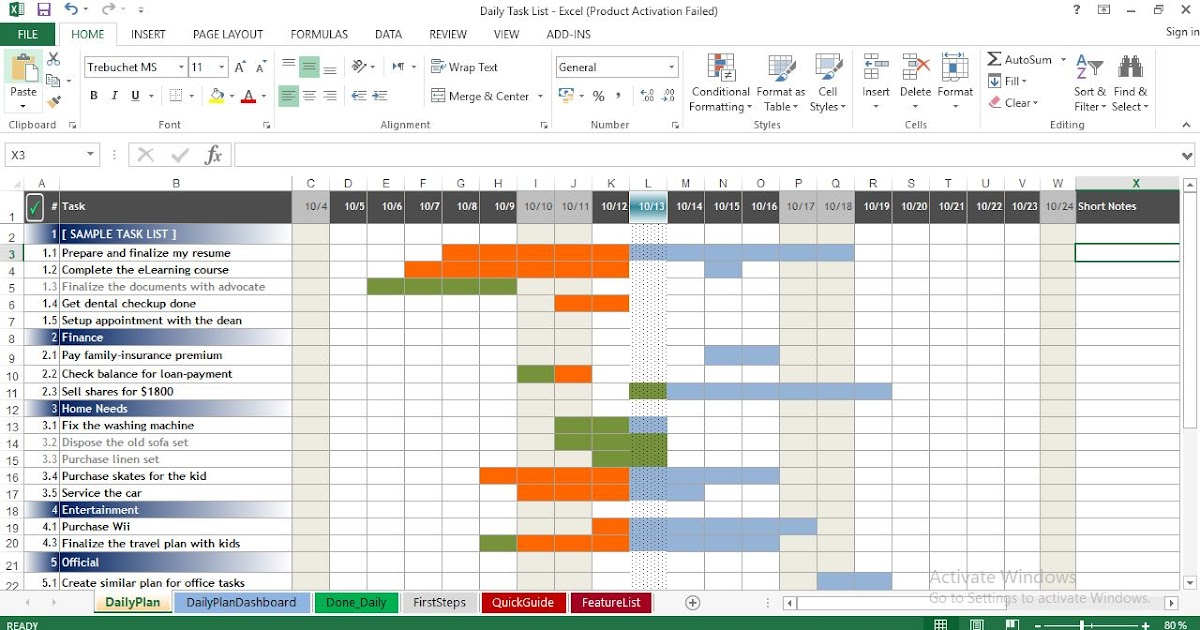 Daily Task List Template For Excel