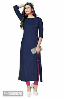Rayon Solid Kurti With Button Work