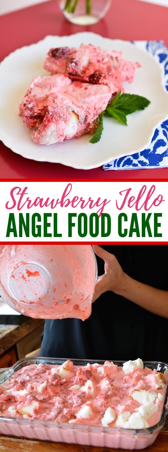 Easy Strawberry, Jello and Angel Food Cake Dessert Recipe #sweets #cake