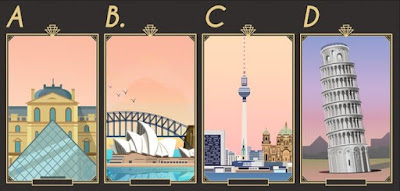 Q 16. Look at these landmarks and guess their countries. Which country has the most inhabitants?
