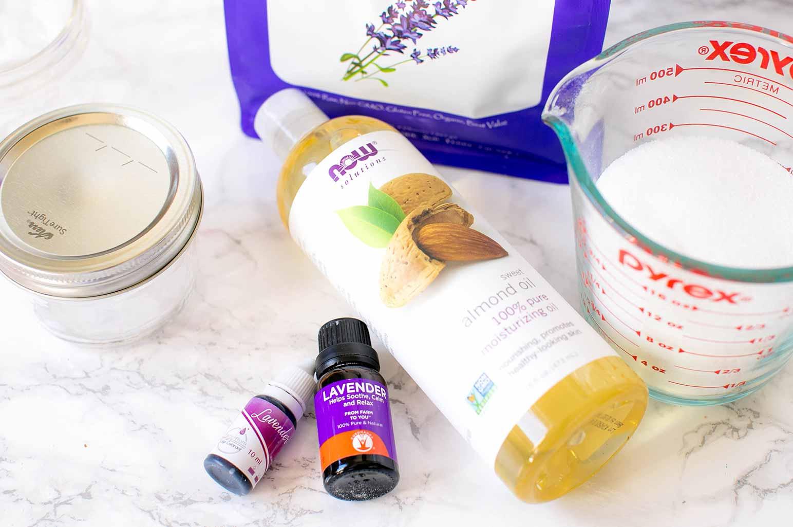 DIY Lavender Sugar Scrub Supplies