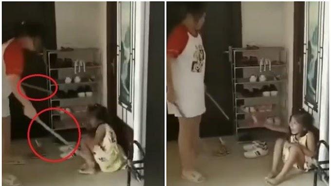 Video Ibu Pukuli Anaknya Habis-habisan Dengan Tongkat, Ayah Rakam Dan Suruh Pukul Terus