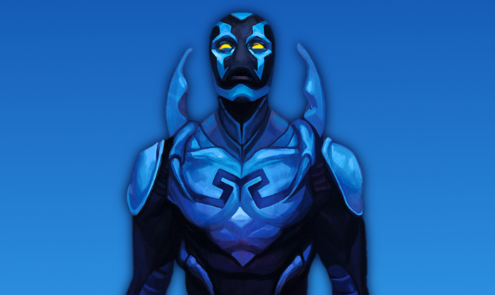 Imagem: fundo azul com a imagem de personagem Besouro-Azul, um super-herói com um exo-esqueleto com placas em tons azuis e pretos, ombreiras, pequenos chifres nas costas em tom azul-escuro surgindo das suas costas, a máscara azul que cobre o rosto todo e com olhos amarelos brilhantes.