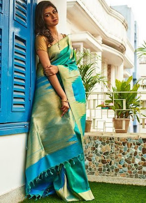 Pure Green Kanchipuram Hand Woven Pure Silk Saree With Blouse.