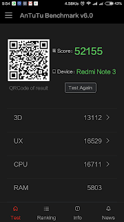 Xiaomi Redmi Note 3 - skor Antutu Benchmark pada mode Performance