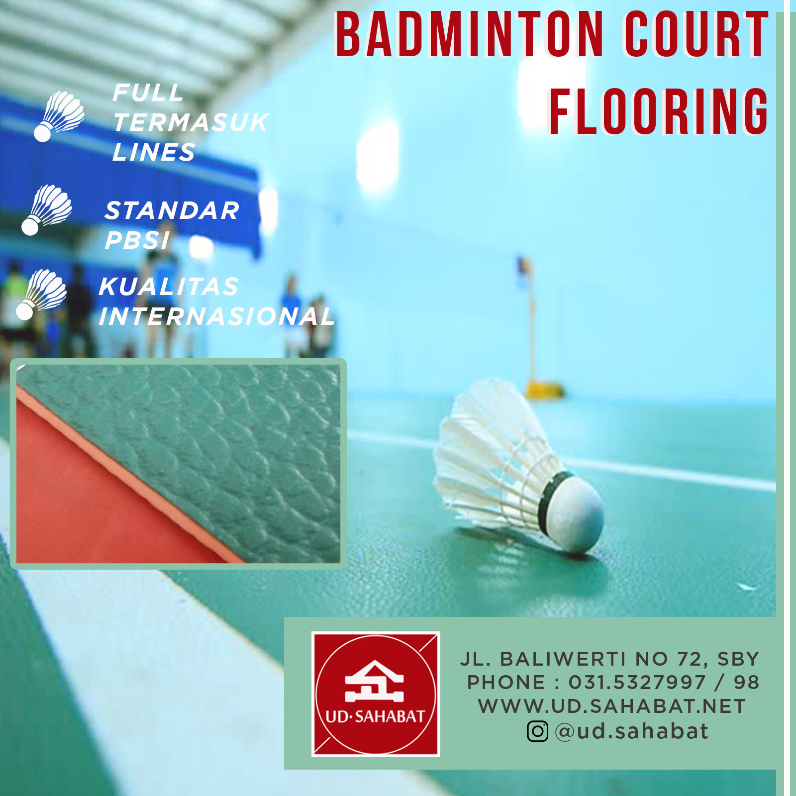 jual murah lapangan karet karpet hijau badminton bulutangkis SAHABAT SURABAYA