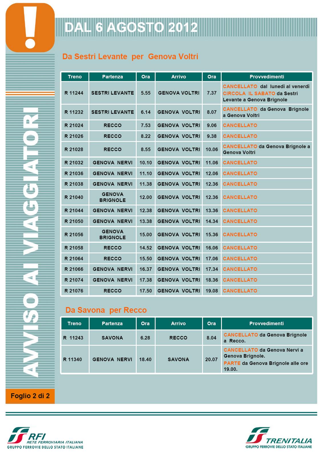 GenovaMilanoNewsletter: Variazioni orario treni e ...
