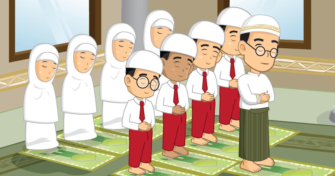 Gambar Orang Sholat Berjamaah Kartun
