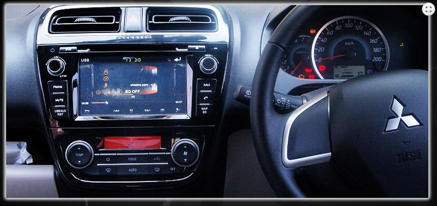 Skeleton Head Unit Double Din SKT D324 G terpasang di Mitsubishi Mirage