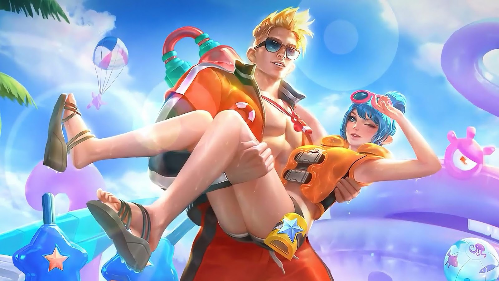 Wallpaper Claude and Fanny Lifeguard Summer Skin Mobile Legends Full HD for PC