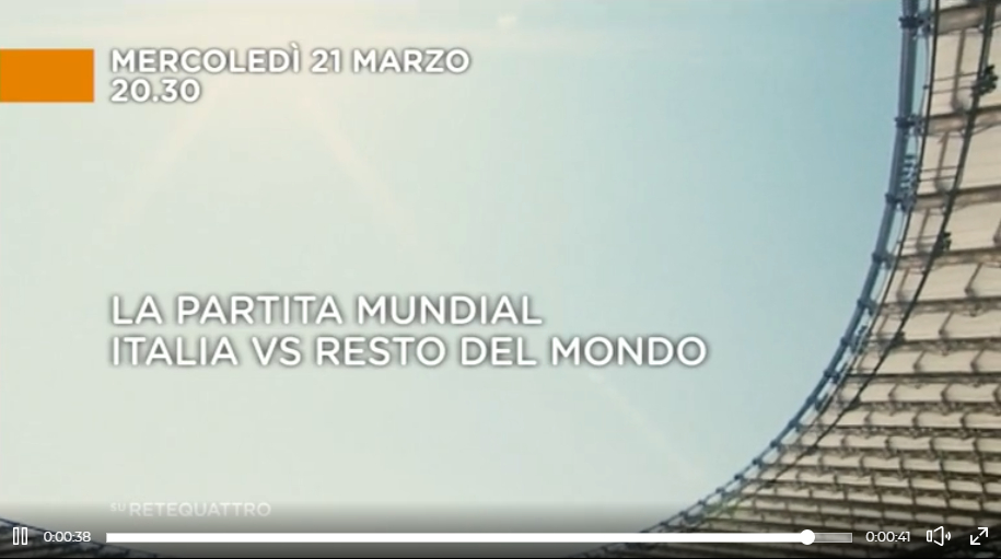 Partita Mundial: Italia vs Resto del Mondo in Diretta TV Streaming su Retequattro