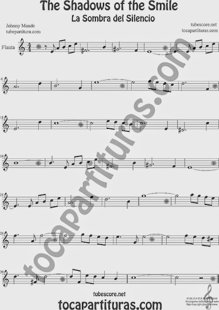 The Shadows of Your Smile Partitura de Flauta Travesera, flauta dulce y flauta de pico Sheet Music for Flute and Recorder Music Scores La Sombra de tu sonrisa La Sombra de tu Sonrisa