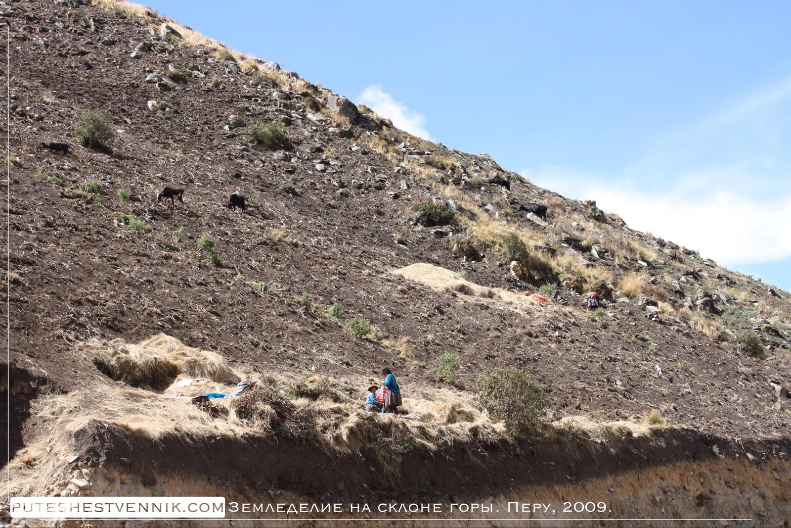 Земледелие на склоне горы и перуанские женщины