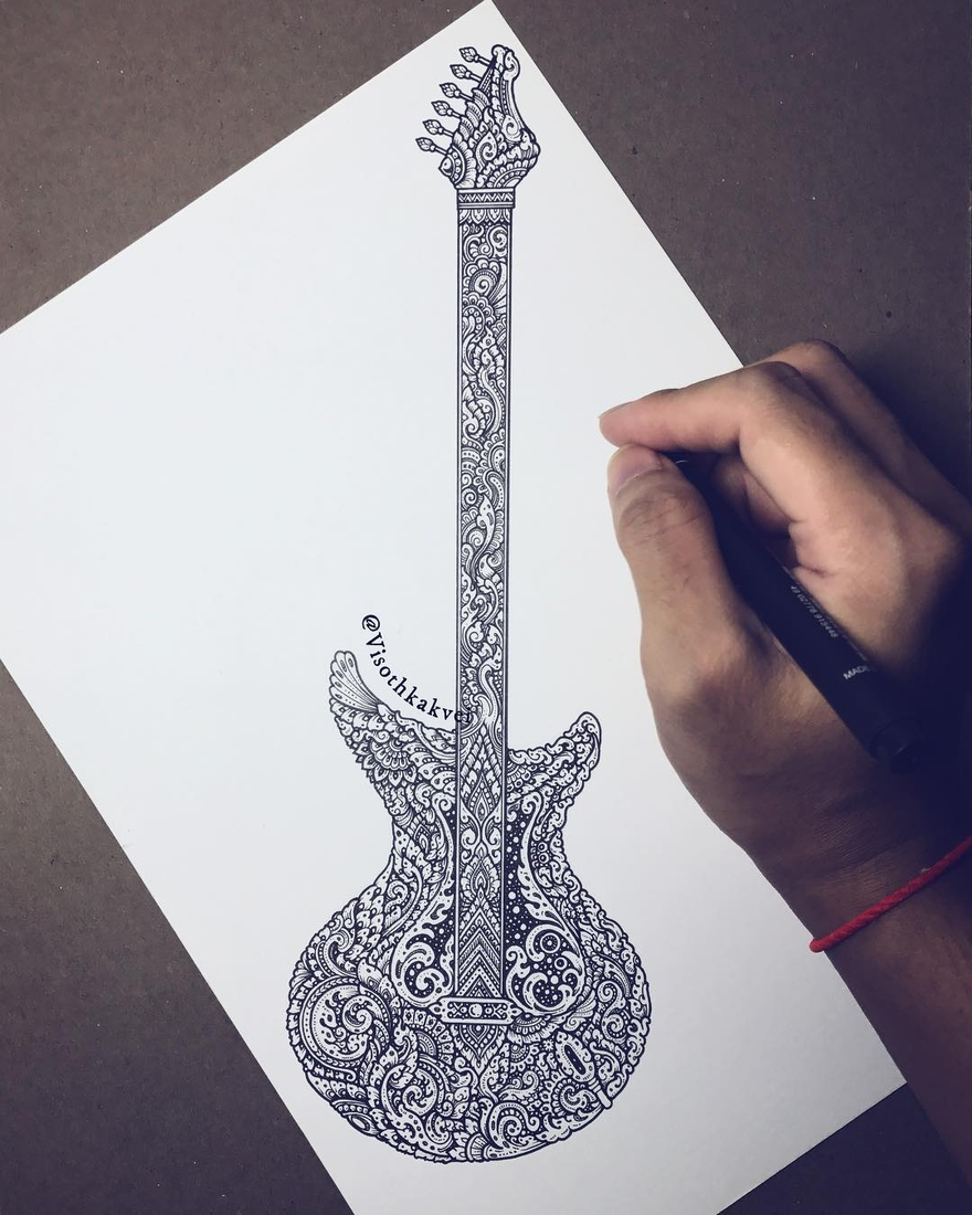 12-Ornate-Guitar-Visoth-Kakvei-Color-and-Black-and-White-Dynamic-Doodles-www-designstack-co