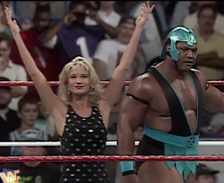 WWF / WWE SUMMERSLAM 1996 - Sunny and her new man Farooq gave an in-ring promo