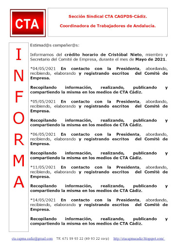 C.T.A. INFORMA CRÉDITO HORARIO CRISTOBAL, MAYO  2021