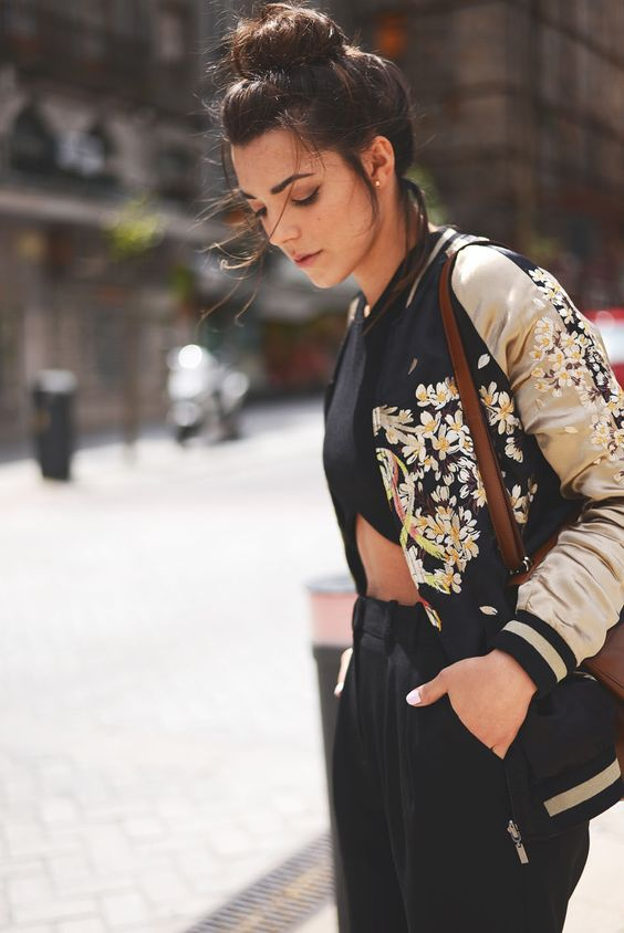 Fashion Thru My Eyes Floral Embroidered Satin Bomber Jacket