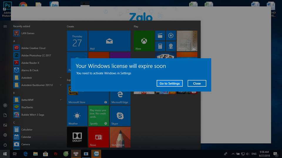 Cách tắt thông báo Your Windows license will expire soon Windows 10