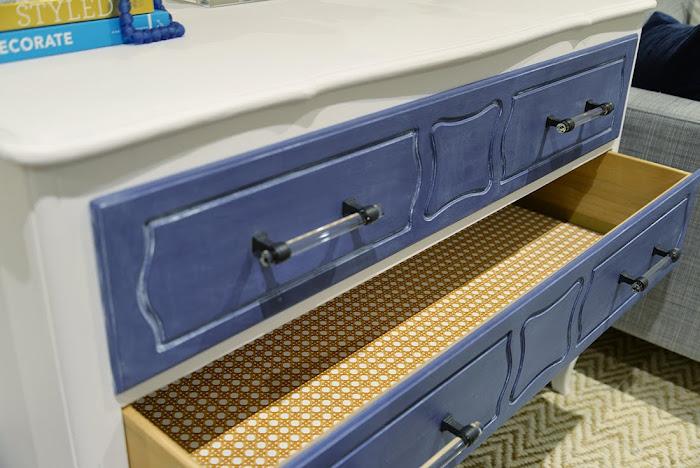 kitchen cabinet makeover, shelf liner adhesive, caning shelf liner, coastal dresser, blue and white dresser