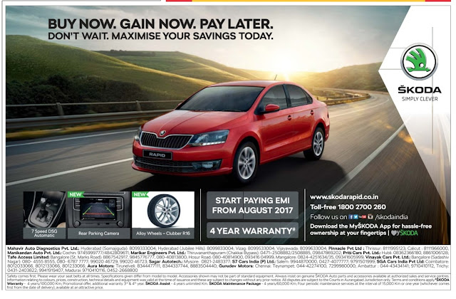 New Skoda Rapid- Buy now and pay later | May 2017 discount offers