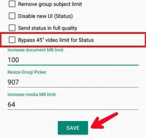 تمديد 30 ثانية WhatsApp حالة الفيديو