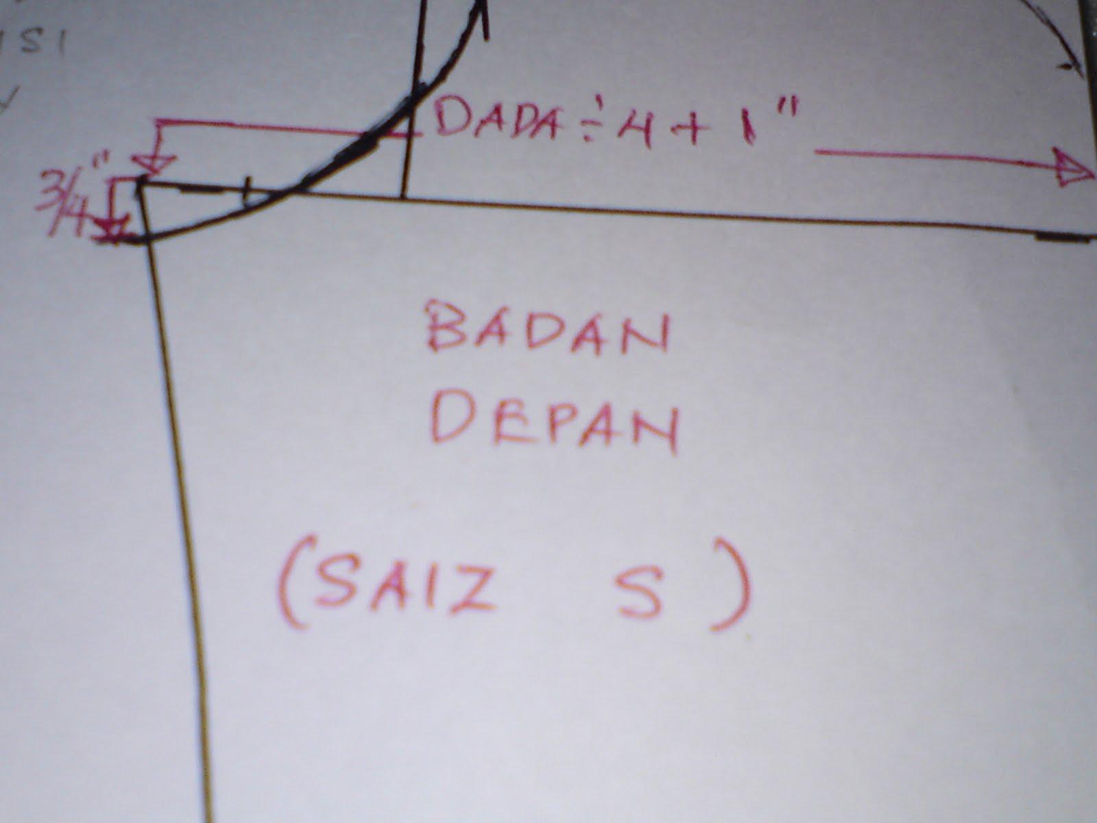 "... : Cara-cara membuat lubang lengan dan tangan utk saiz ""S"",""M"" dan ""L"