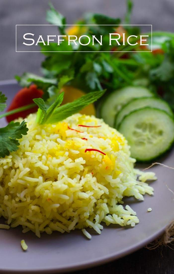 Learn to make this simple aromatic saffron infused rice.  Its perfect and elegant side dish to compliment your Middle-eastern or Indian food