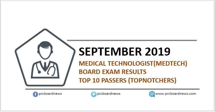 TOP 10 PASSERS: September 2019 Medtech board exam result