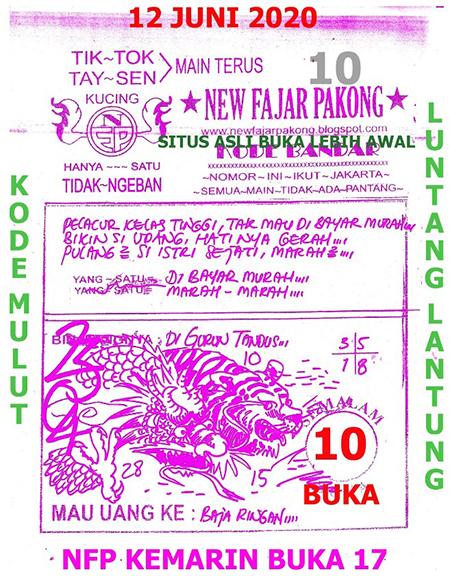 Prediksi HK Jumat 12 Juni 2020 - New Fajar Pakong