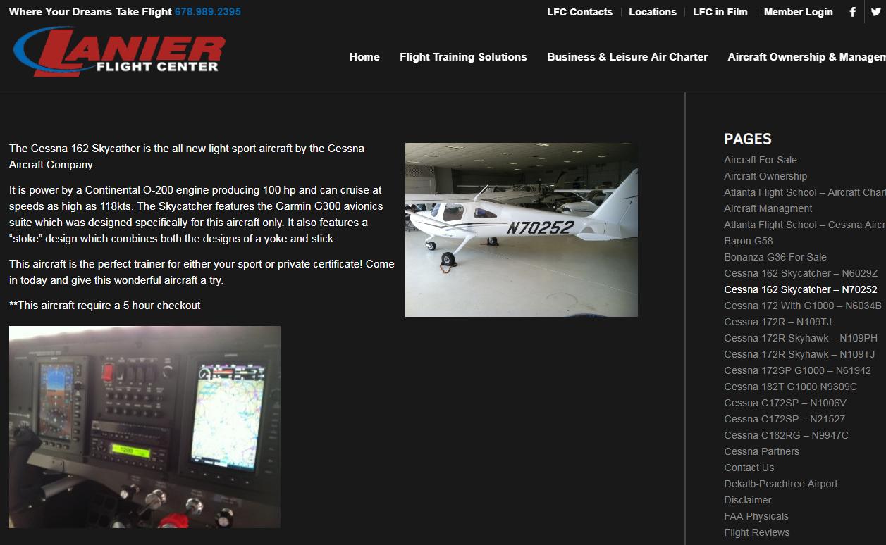 screenshot of N70252 rental page