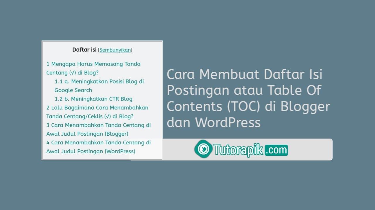 Cara Membuat Daftar Isi Postingan / Table Of Contents di Blog