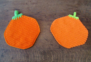Handmade in Crochet Pumpkin Shaped Potholder and Dishcloth