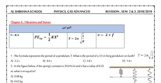 مراجعة في الفيزياء منهج انجليزي للصف الحادي عشر