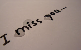 i miss you picture with tear drops on paper