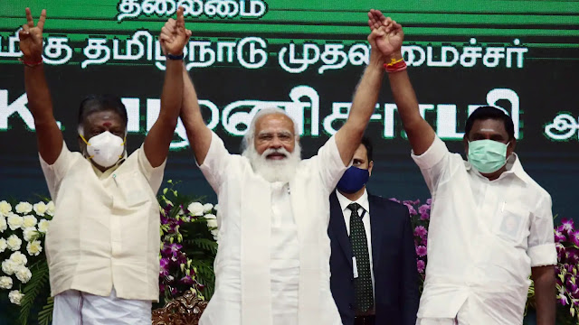 Modi with Edappadi Palanisamy and O.Panneerselvam