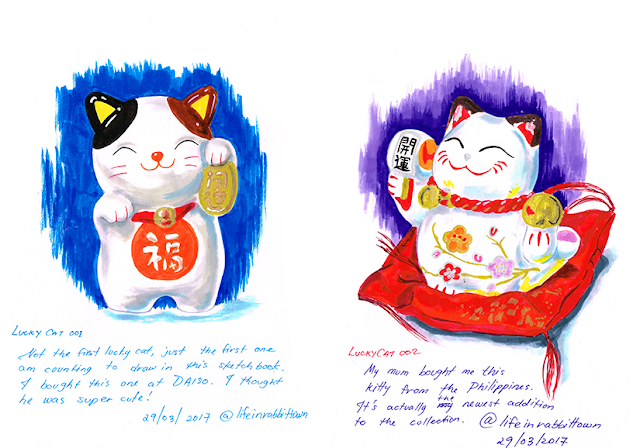 Drawing my lucky cat collection! Drawn by Marta Tesoro aka Rabbit Town Art