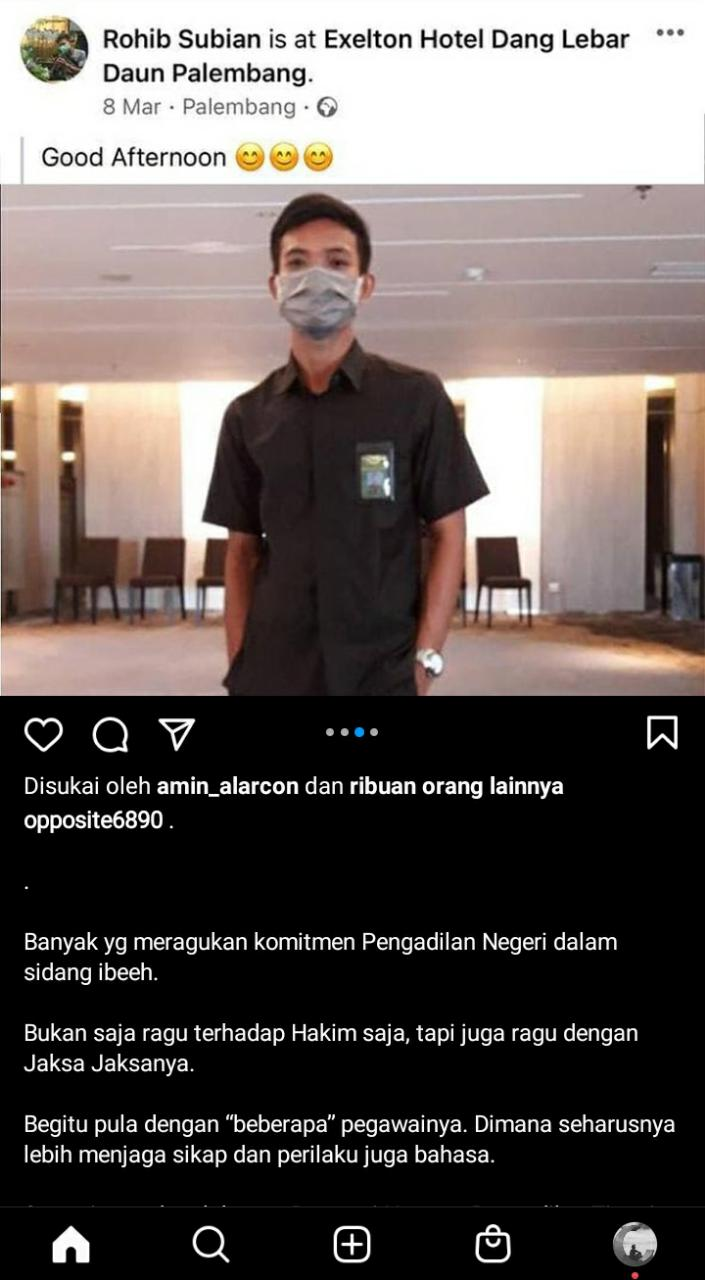 Pegawai Honorer Pengadilan Tinggi Palembang Hina & Lecehkan Habib Rizieq Shihab