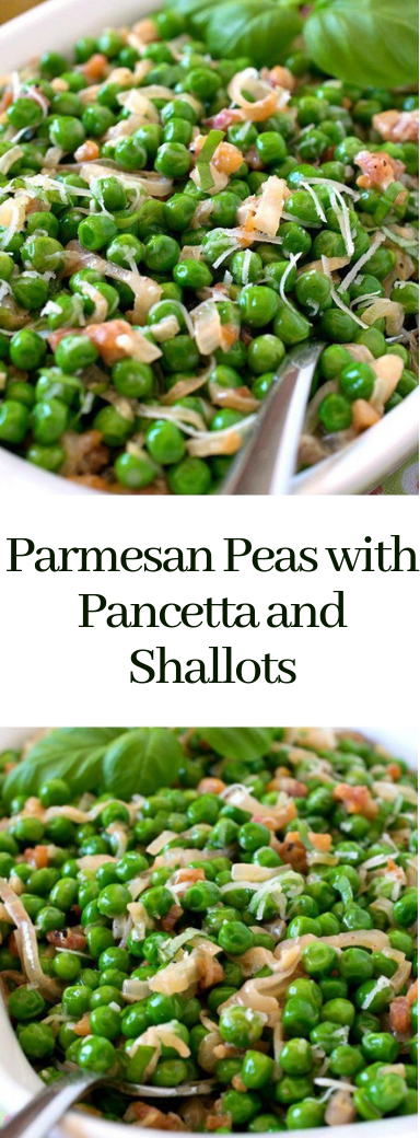 Parmesan Peas with Pancetta and Shallots #vegetarian #recipeeasy