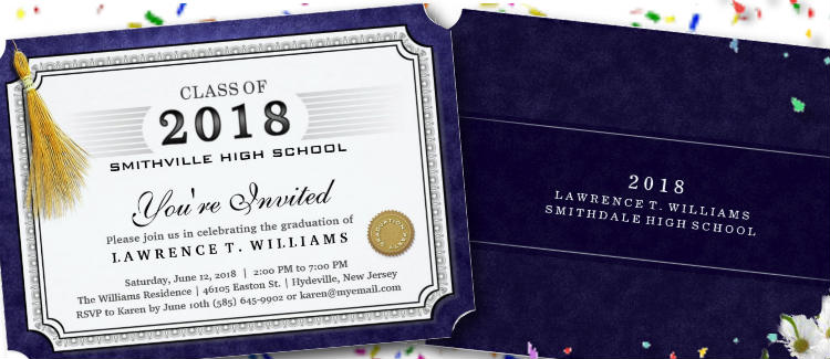 navy blue graduation party diploma invitation