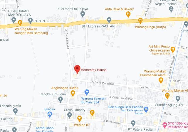 Map Letak Hotel Hansa Homestay Pacitan